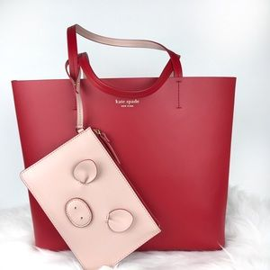 ♥️ kate spade red tote With Wristlet set ♥️
